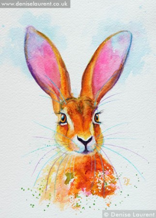Ostara hare painting in watercolour