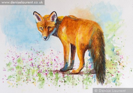 fox on the wall watercolour painting