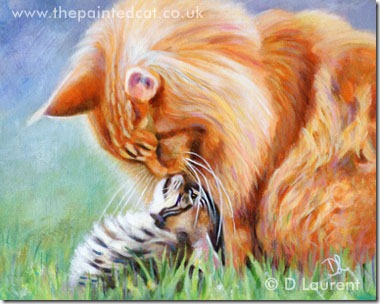 Kiss Me Booboo - 10x8 inch acrylic painting by Denise Laurent