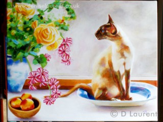 Lili Mei - Siamese cat painting