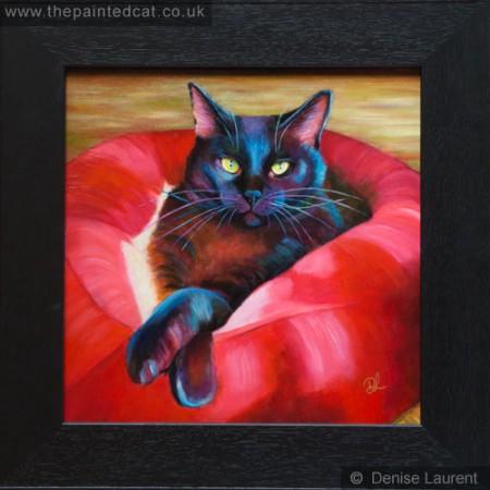 Plumptious - black cat oil painting framed