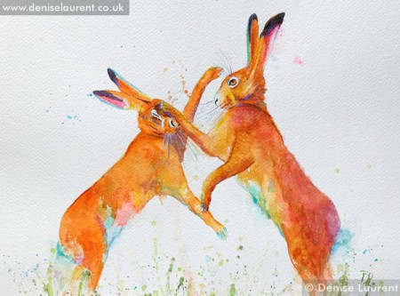 Boxing Hares in watercolour