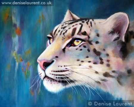snow leopard oil painting