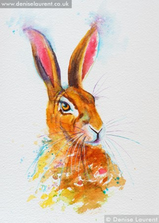 spring hare watercolour painting