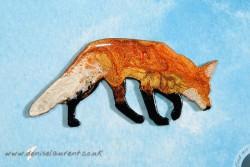 walking fox brooch